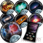 Cook Islands Cosmic Phenomena series Cu-Ni with Handcrafted Cold-enamel-application $0.35 Seven Coin Set 2000