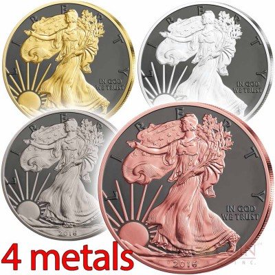 USA FOUR METALS PRESTIGE SET AMERICAN SILVER EAGLE 4 Silver coin set $1 WALKING LIBERTY 2016 Black Ruthenium, Yellow Gold, Rose Gold, Palladium, Platinum plated 4 oz