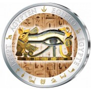 Fiji EYE OF HORUS series GOLDEN & COLORFUL EGYPT $1 Gilded Colored Silver coin 2012 Proof