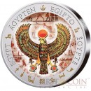 Fiji FALCON PECTORAL TUTANKHAMUN series GOLDEN & COLORFUL EGYPT $1 Gilded Colored Silver coin 2012 Proof