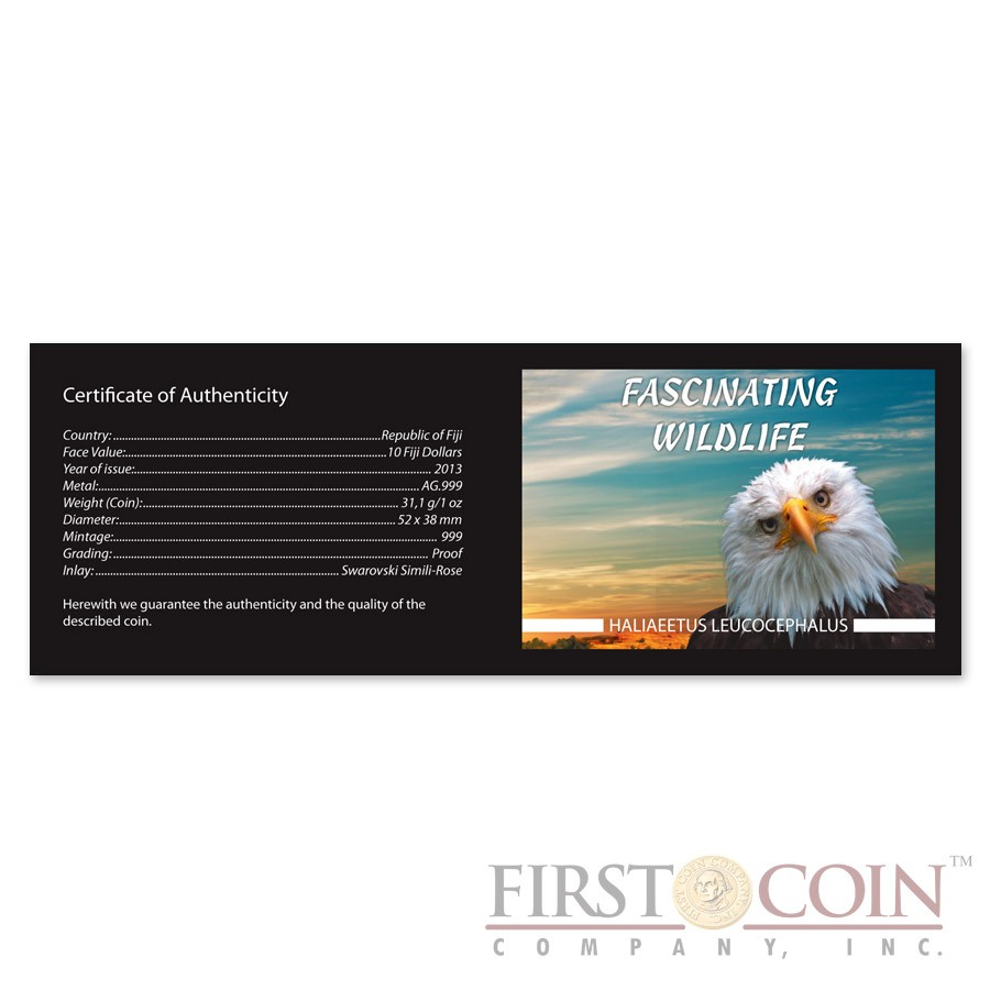 Fiji BALD EAGLE series FASCINATING WILDLIFE $10 Silver CoinAntique finish 2013 High Relief 1 oz