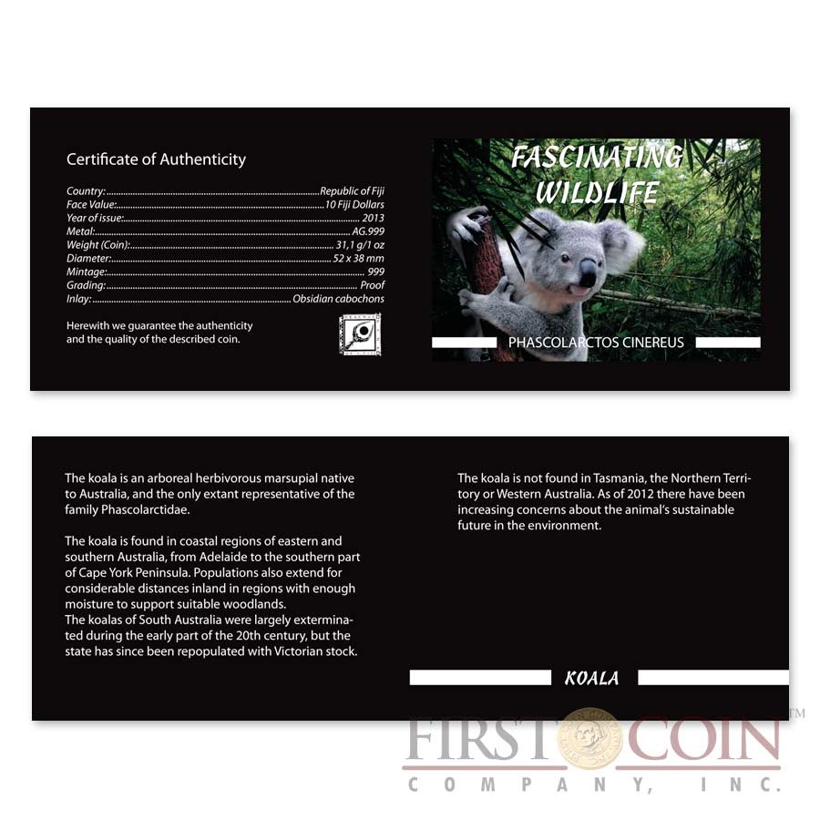 Fiji KOALA series FASCINATING WILDLIFE Silver Coin $10 Antique finish 2013 High Relief 1 oz