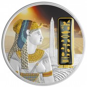 Fiji CLEOPATRA series EGYPT JEWELS $50 Silver Coin Palladium plated 2 oz 3D stone 2012