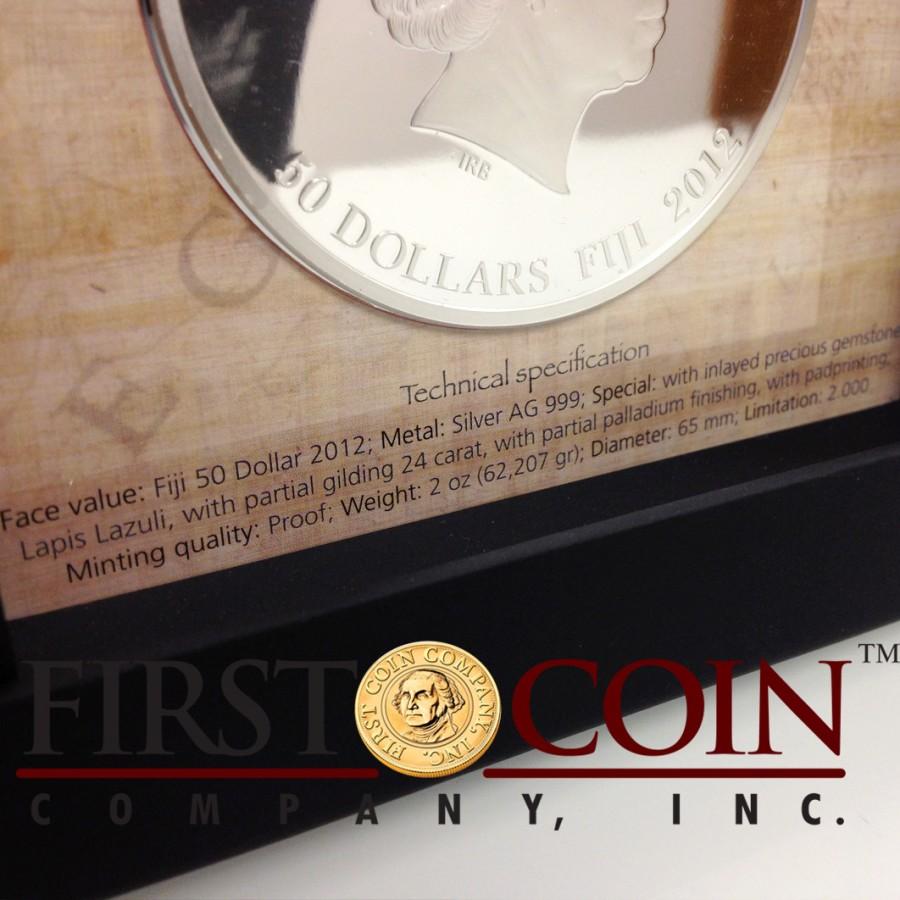 Fiji CLEOPATRA series EGYPT JEWELS $50 Silver Coin Palladium plated 2 oz 3D stone 2012