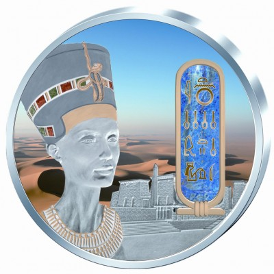 Fiji NEFERTITI series EGYPT JEWELS $50 Silver Coin Palladium plated 2 oz 3D stone 2012
