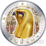 Fiji HORUS series GOLDEN & COLORFUL EGYPT $1 Gilded Colored Silver coin 2012 Proof