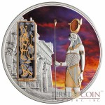 Fiji HORUS series EGYPT JEWELS $50 Silver Coin Palladium plated 2 oz 3D stone 2013