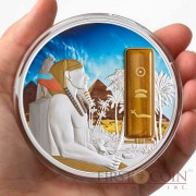 Fiji PHARAOH KHAFRE series EGYPT JEWELS $50 Silver Coin Palladium plated Tiger Eye 2 oz 3D stone 2013