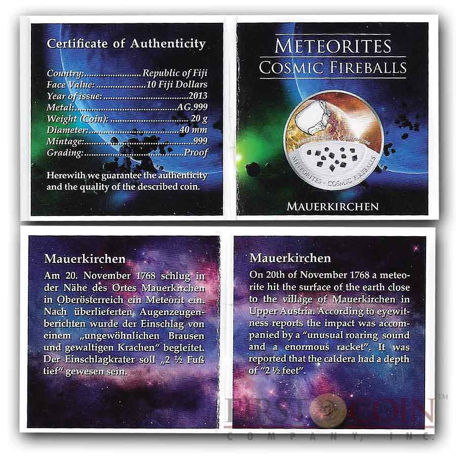 Fiji Meteorite Mauerkirchen 1768 in Upper Austria Meteorites Cosmic Fireballs $10 Silver Coin Meteorite Pieces Insert Colored Proof 2013