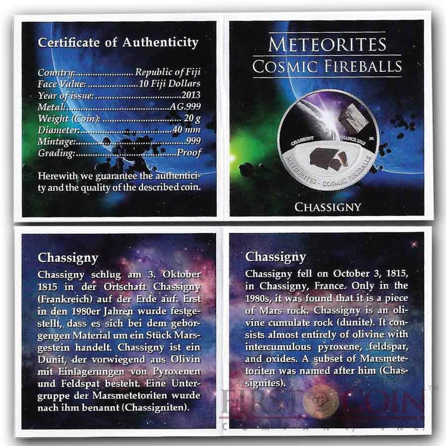 Fiji Meteorite Chassigny 1815 in France Meteorites Cosmic Fireballs $10 Silver Coin Meteorite Pieces Insert Colored Proof 2013