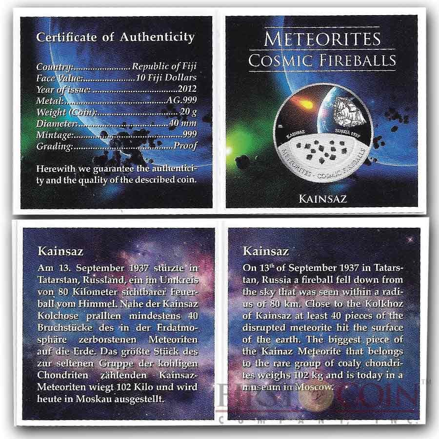 Fiji Meteorite Kainsaz 1937 in Russia Meteorites Cosmic Fireballs $10 Silver Coin Meteorite Pieces Insert Colored Proof 2012