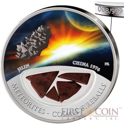 Fiji Meteorite Jilin 1976 in China Meteorites Cosmic Fireballs $10 Silver Coin Meteorite Pieces Insert Colored Proof 2012