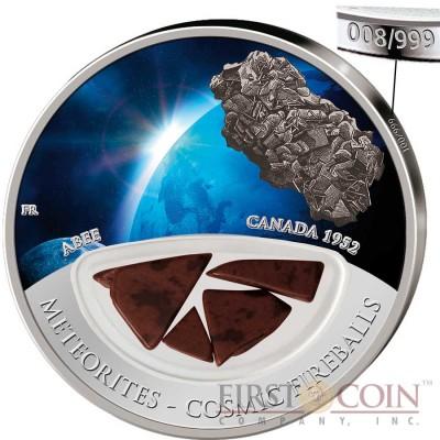 Fiji METEORITE ABEE 1952 IN CANADA series COSMIC FIREBALLS $10 Silver Coin Meteorite Pieces Insert 2012 Proof