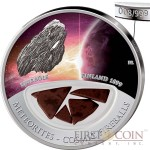 Fiji Meteorite Bjurbole 1899 in Finland Meteorites Cosmic Fireballs $10 Silver Coin Meteorite Pieces Insert Colored Proof 2013