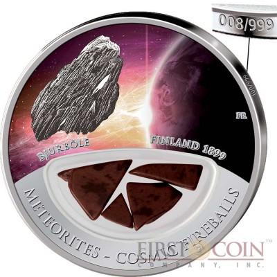 Fiji Meteorite Bjurbole 1899 in Finland Meteorites Cosmic Fireballs $10 Silver Coin Meteorite Pieces Insert Colored Proof 2013