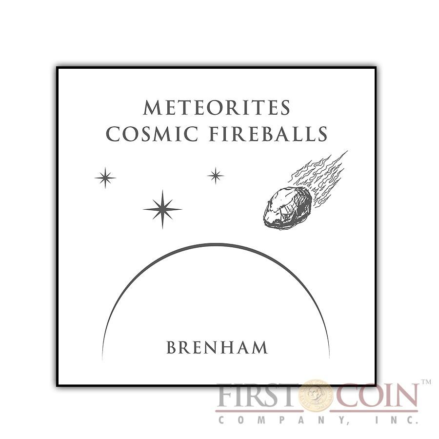 Fiji Meteorite Brenham 1882 in USA Meteorites Cosmic Fireballs $10 Silver Coin Meteorite Pieces Insert Colored Proof 2012