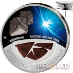 Fiji Meteorite Brenham 1882 in USA Meteorites Cosmic Fireballs $10 Silver Coin Meteorite Pieces Insert Colored Proof 2012