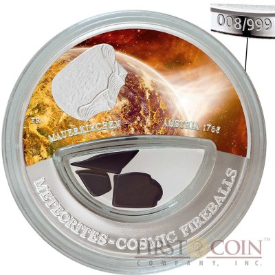Fiji Meteorite Mauerkirchen 1768 in Upper Austria Meteorites Cosmic Fireballs $10 Silver Coin Meteorite Pieces Insert Colored Proof 2013