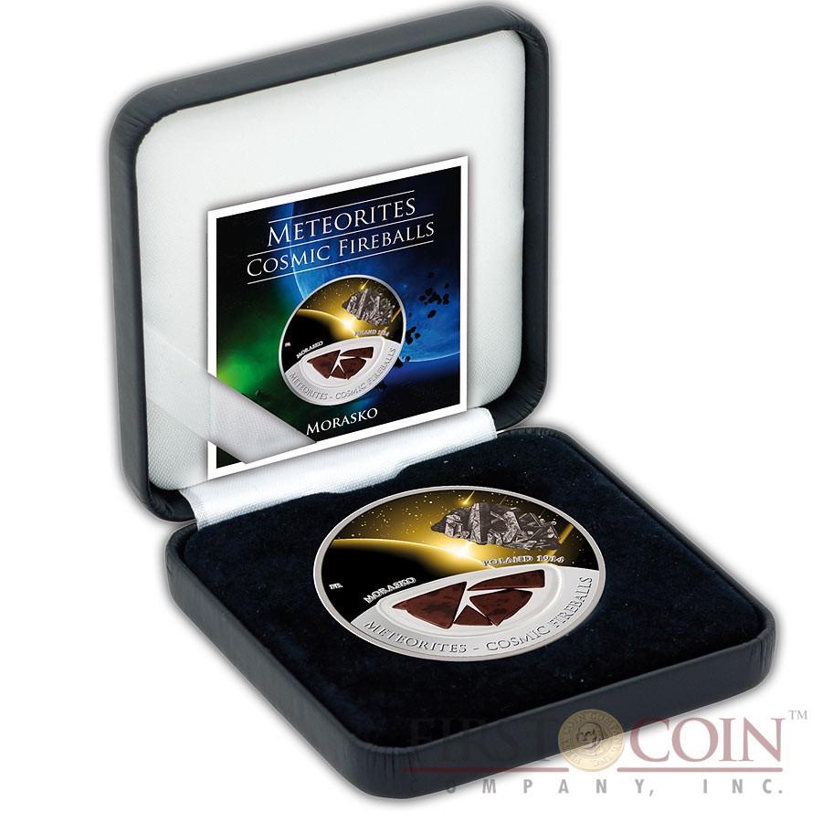 Fiji Meteorite Morasko 1914 in Poland Meteorites Cosmic Fireballs $10 Silver Coin Meteorite Pieces Insert Colored Proof 2013