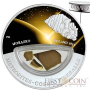 Fiji Meteorite Morasko 1914 in Poland Meteorites Cosmic Fireballs $10 Silver Coin Meteorite Pieces Insert Colored Proof 2013