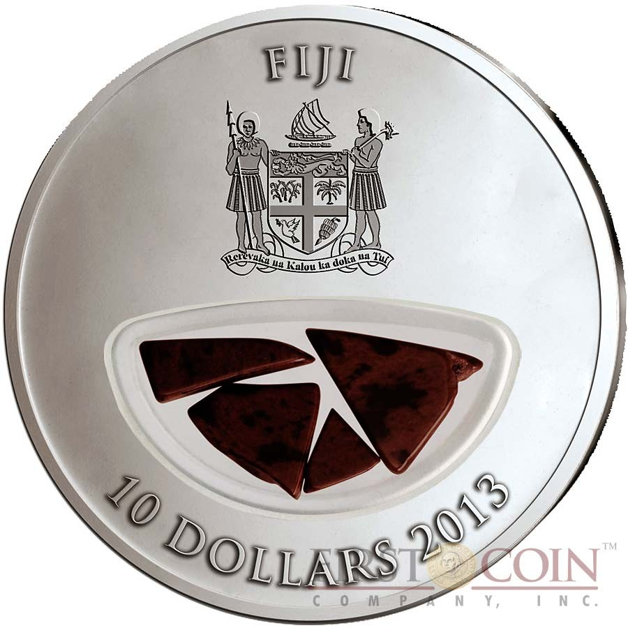 Fiji Meteorite Murchison 1969 in Australia Meteorites Cosmic Fireballs $10 Silver Coin Meteorite Pieces Insert Colored Proof 2013