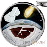 Fiji Meteorite Murchison 1969 in Australia Meteorites Cosmic Fireballs $10 Silver Coin Meteorite Pieces Insert Colored Proof 2013