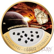 Fiji Meteorite Neuschwanstein 2002 in Germany Meteorites Cosmic Fireballs $50 Gold Coin Meteorite Pieces Insert Colored Proof 2013