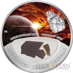 Fiji Meteorite Neuschwanstein 2002 in Germany Meteorites Cosmic Fireballs $10 Silver Coin Meteorite Pieces Insert Colored Proof 2012