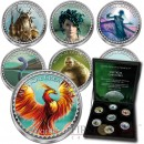 Cook Islands series MYSTICAL CREATURES Cu-Ni with Handcrafted Cold-enamel-application $0.50 Seven Coin Set 2000