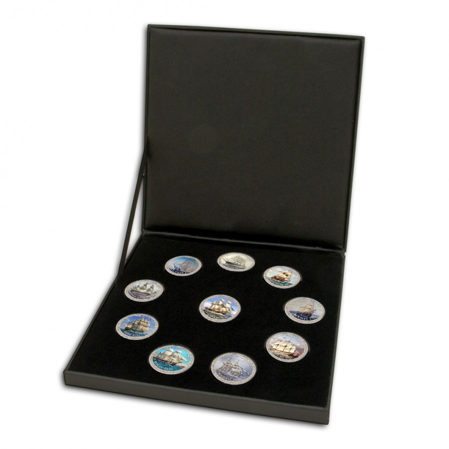 East Caribbean States Famous Sailing Ships series II Cu-Ni with Handcrafted Cold-enamel-application $2.5 Ten Coin Set