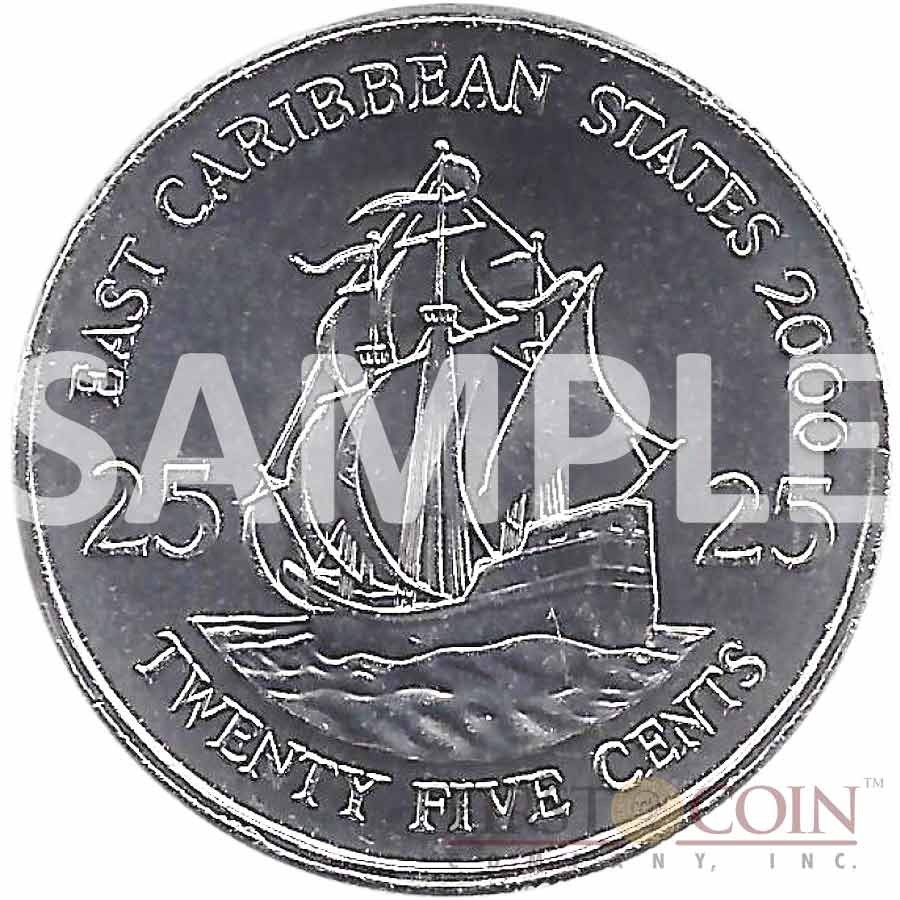 East Caribbean States Famous Sailing Ships series I Cu-Ni with Handcrafted Cold-enamel-application $2.5 Ten Coin Set