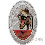 Congo DINOSAUR TYRANNOSAURUS REX series PREHISTORIC GIANTS 1500 Francs CFA Real dinosaur tooth Oval Silver Coin Antique finish 2 oz