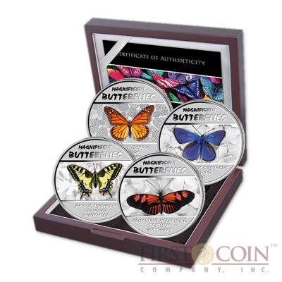 Congo Magnificent Butterflies Silver Four Coin Set 2014 UV inks Colored 120 Francs ~2.6 oz