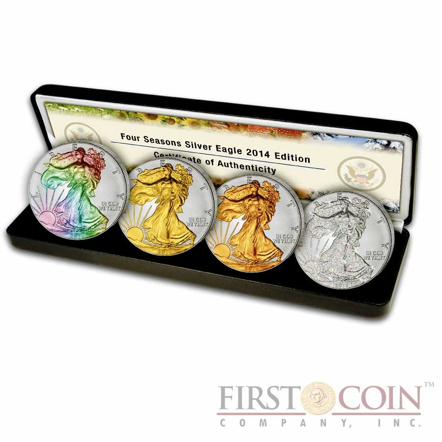 Usa American Eagle Four Seasons 4 Four Coin Set 4 Silver