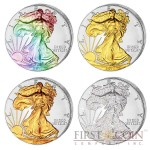 USA American Eagle Four Seasons 4 Four Coin Set $4 Silver 2014 Yellow & Red Gilded, Diamond, Hologram 4 oz