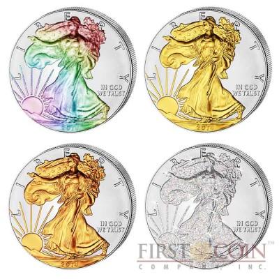USA American Eagle Four Seasons 4 Four Coin Set $4 Silver 2014 Yellow & Red Gilded, Diamond, Hologram 4 oz