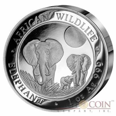 Somalia Elephant Somalian Ultra High Relief Silver Coin 1 oz African Wildlife 2014