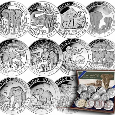 Somalia Elephants Somalian Anniversary 11 Coin Set African Wildlife Series 3900 Shillings 2004-2014 Silver 11 oz