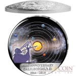 Congo Galileo Galilei 450-th Anniversary 30 Francs Silver Coin Curved Dome Moon Shape 2014 Proof-like 1 oz
