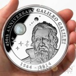 Cook Islands Galileo Galilei 450-th Anniversary $10 Silver Coin Natural Moonstone inlay 2014 Proof 2 oz