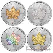 Canada Maple Leaf Four Seasons 4 Four Coin Set $20 Silver 2014 Yellow & Red Gilded, Diamond, Hologram 4 oz