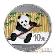 China Colored Panda Silver coin 10 Yuans 1 oz Brilliant uncirculated 2014
