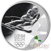 Russia Ski-Run Olympic Sochi 3 Rub Colored Silver coin 2014 Proof 1 oz