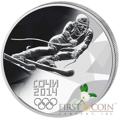 Russia Ski-Run Olympic Sochi 3 Rub Colored Silver coin 2014 Proof 1 oz