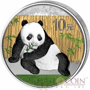 China Colored Panda Silver coin 10 Yuans 1 oz Brilliant uncirculated 2015