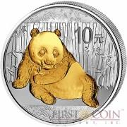 China Gilded Panda Silver coin 10 Yuans 1 oz Brilliant uncirculated 2015
