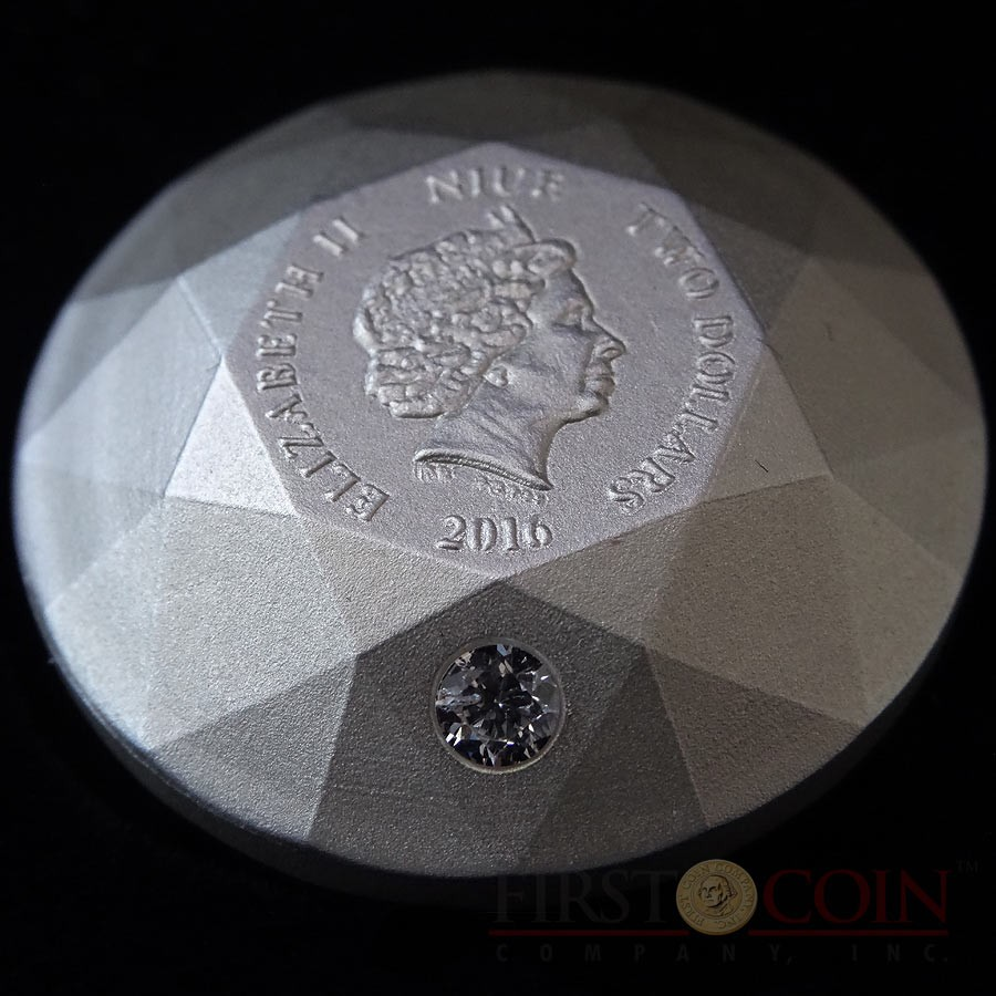 66376c780 Niue Island FIRST 3D DIAMOND CUT SILVER COIN $2 Diamond 32 Facets One piece  shape 2016 ...