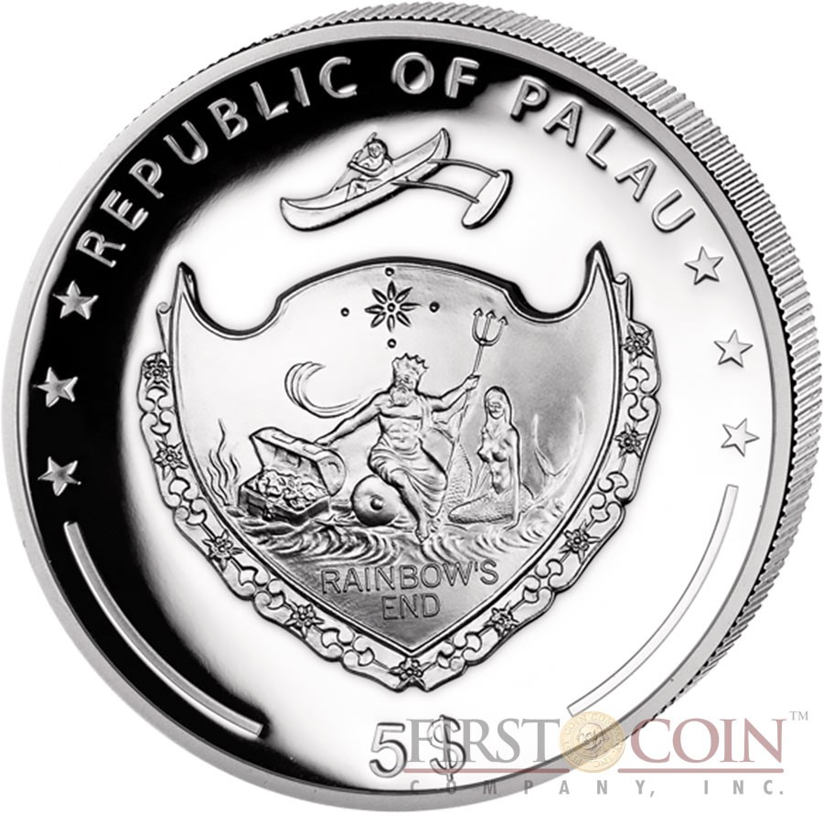 Palau YEAR OF THE ROOSTER series LUNAR $5 Silver Coin Ultra High Relief 2017 EDGE GILDED Proof Concave shape 1 oz