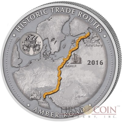Cameroon AMBER ROAD series HISTORIC TRADE ROUTES Giant Silver Coin 5000 Francs Antique finish 2016 Real Amber inlay 5 oz