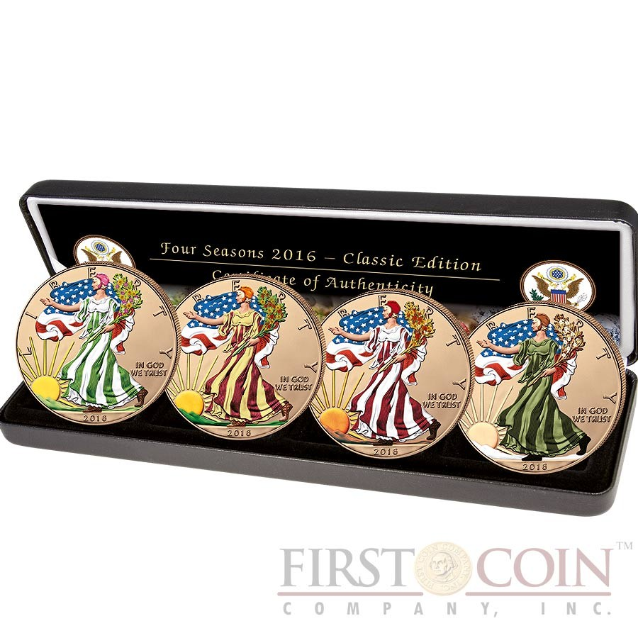 USA AMERICAN SILVER EAGLE FOUR SEASONS 2016 Four Silver Coin Set $4 GOLD PLATED Edition 4 oz